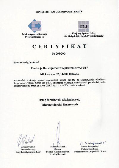 Certyfikat KSU